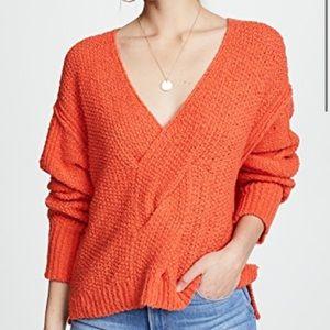 Free People Coco V Neck Sweater Orange knot size L
